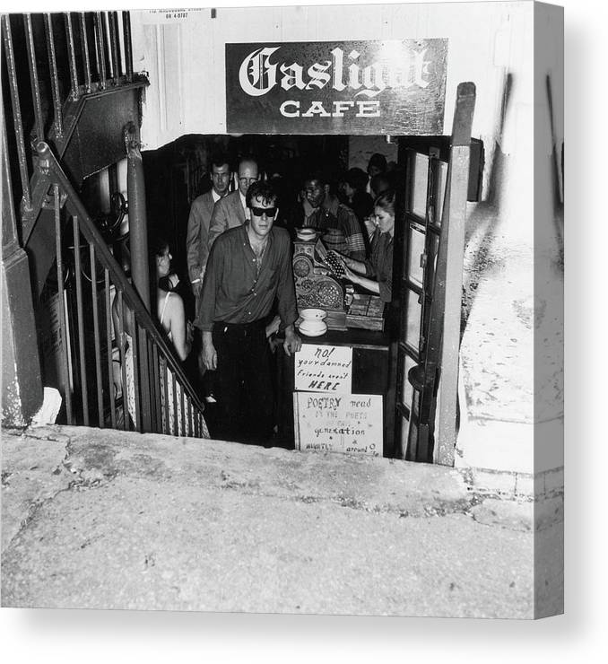 People Canvas Print featuring the photograph The Entrance To The Gaslight Cafe by Fred W. McDarrah