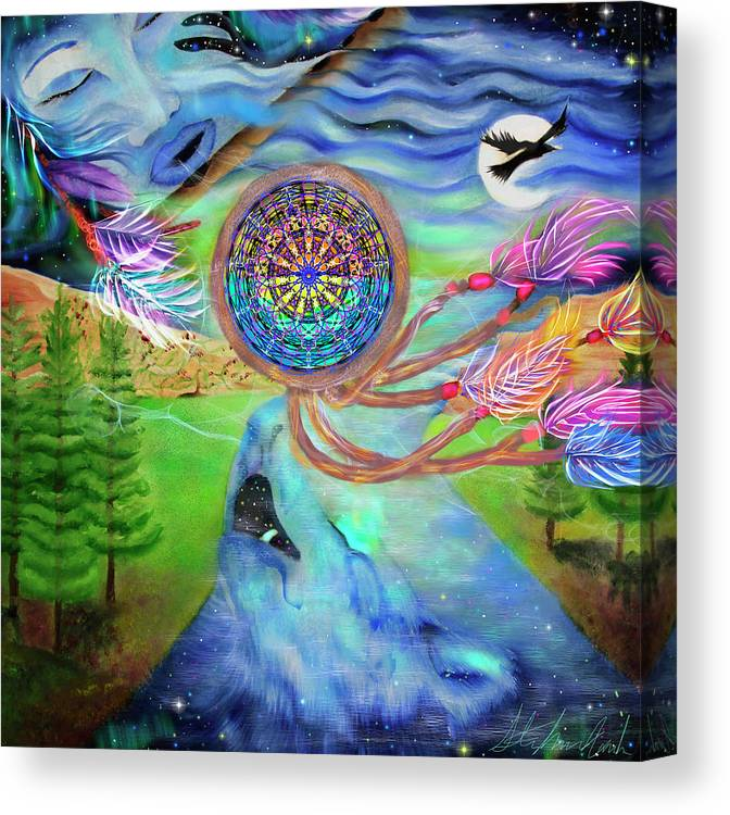 Tribal Dream Catcher Wolf Canvas Print featuring the painting Tribal Dream Catcher Wolf by Stephanie Analah
