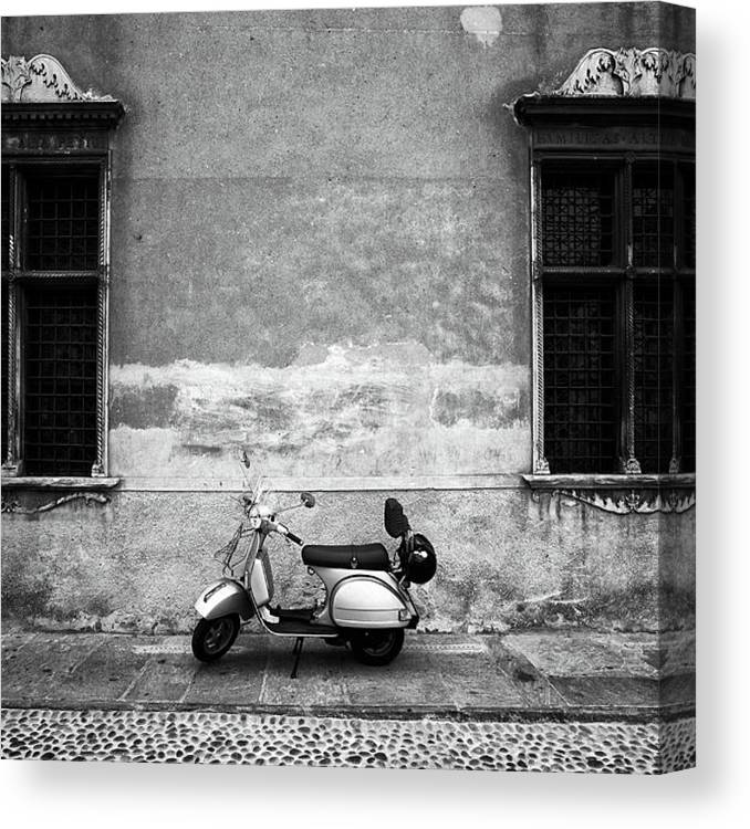 Two Objects Canvas Print featuring the photograph Vespa Piaggio. Black And White by Claudio.arnese