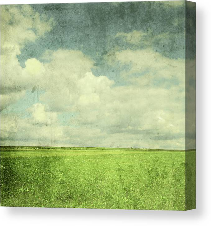 Scenics Canvas Print featuring the photograph Vintage Image Of Green Field And Blue by Jasmina007