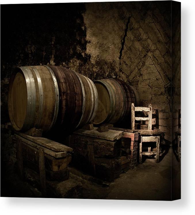 Fermenting Canvas Print featuring the photograph Wine Cellar by Fotografias De Rodolfo Velasco