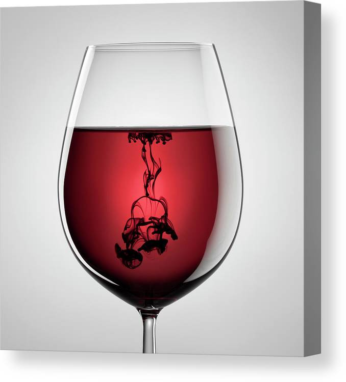 Shadow Canvas Print featuring the photograph Wineglass, Red Wine And Black Ink by Thomasvogel