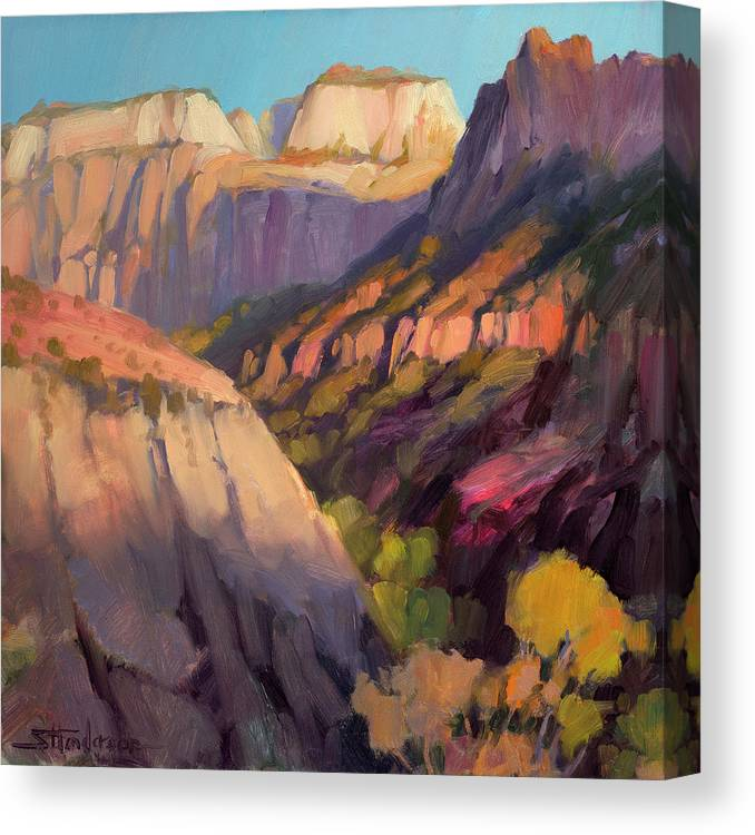 Zion Canvas Print featuring the painting Zion's West Canyon by Steve Henderson