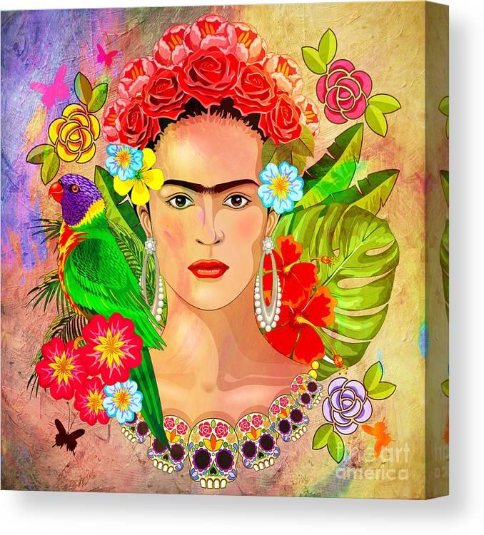 Friday Kahlua Canvas Print featuring the digital art Frida Kahlo by Mark Ashkenazi