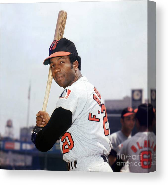 American League Baseball Canvas Print featuring the photograph Frank Robinson by Louis Requena