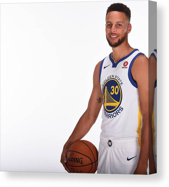 Media Day Canvas Print featuring the photograph Stephen Curry by Noah Graham