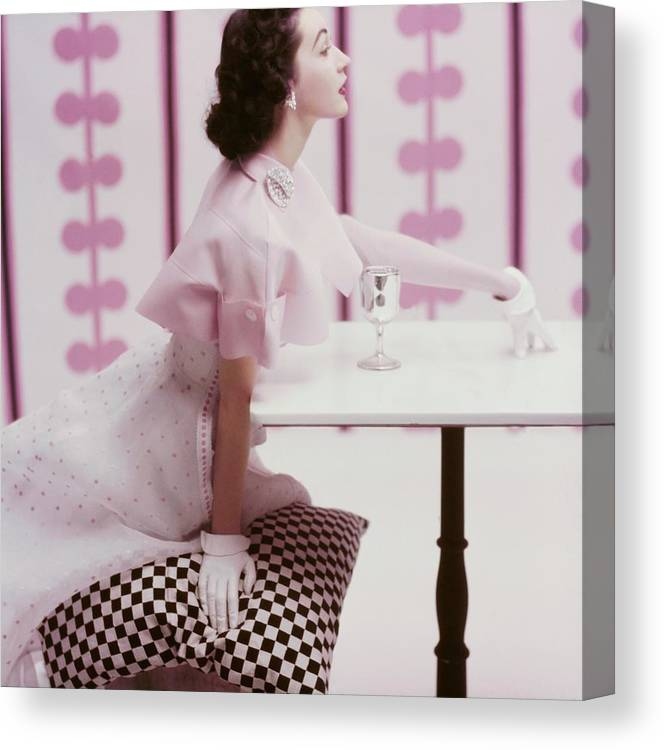 Fashion Canvas Print featuring the photograph A Portrait of Dovima in Tina Leser by Richard Rutledge