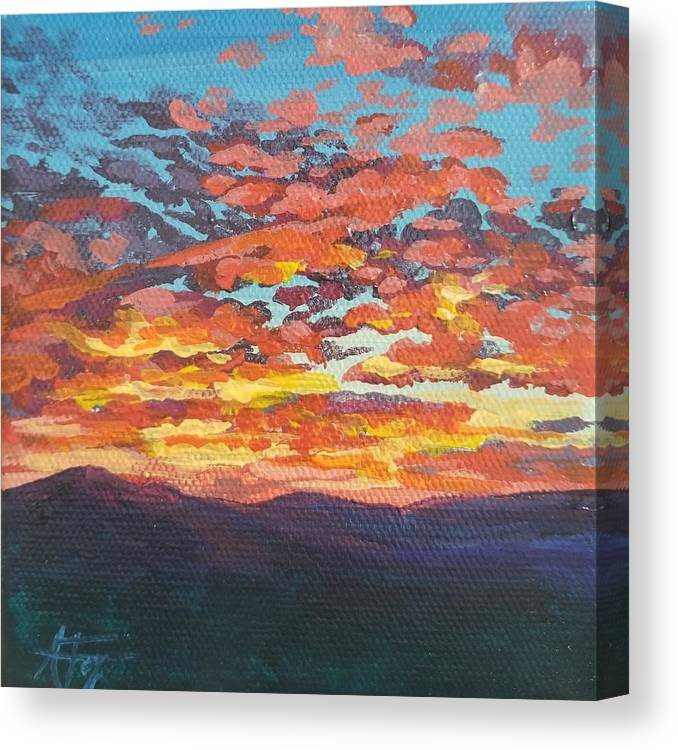 Sunset Canvas Print featuring the painting Autumn Sunset by Allison Fox
