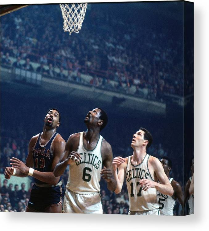 Nba Pro Basketball Canvas Print featuring the photograph Bill Russell, John Havlicek, and Wilt Chamberlain by Dick Raphael