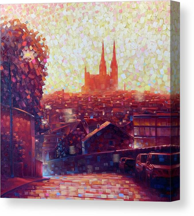 Auvergne Canvas Print featuring the painting Cathedral Sunrise by Robert Buntin