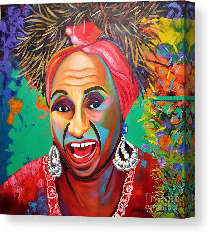 Celia Cruz Canvas Print featuring the painting Celia by Jose Manuel Abraham