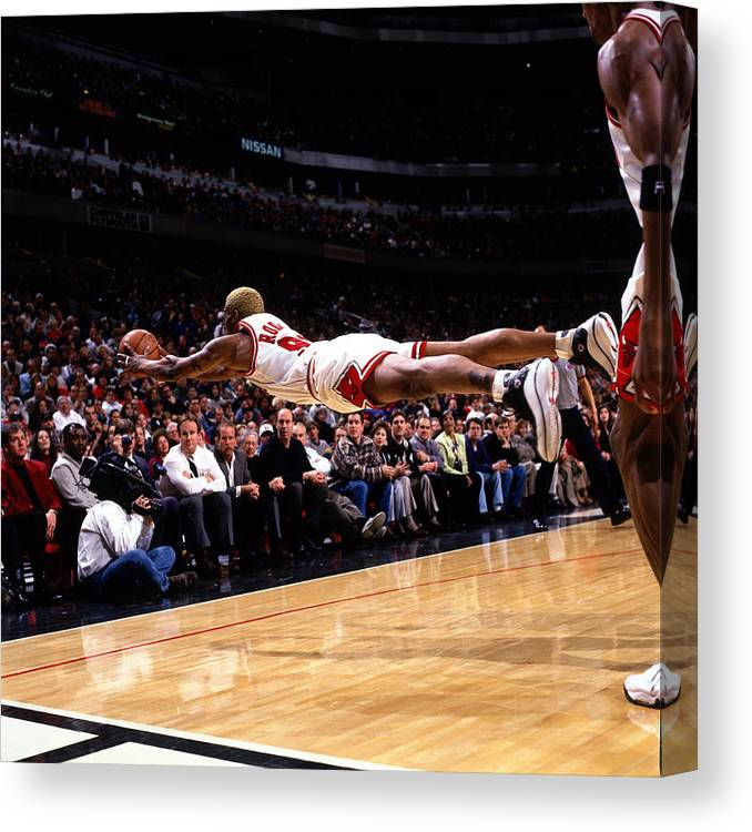 Chicago Bulls Canvas Print featuring the photograph Dennis Rodman by Sam Forencich
