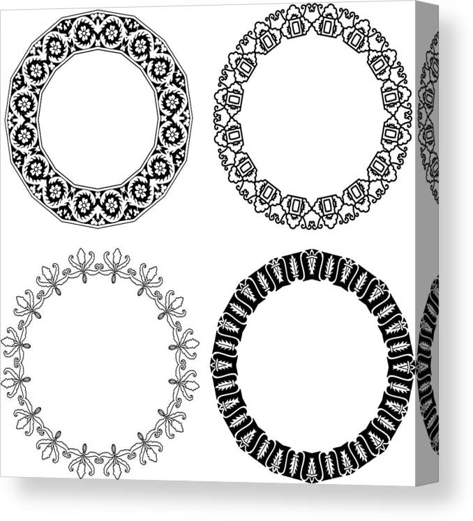 Black Color Canvas Print featuring the drawing Flower ornamental rings by Ninochka