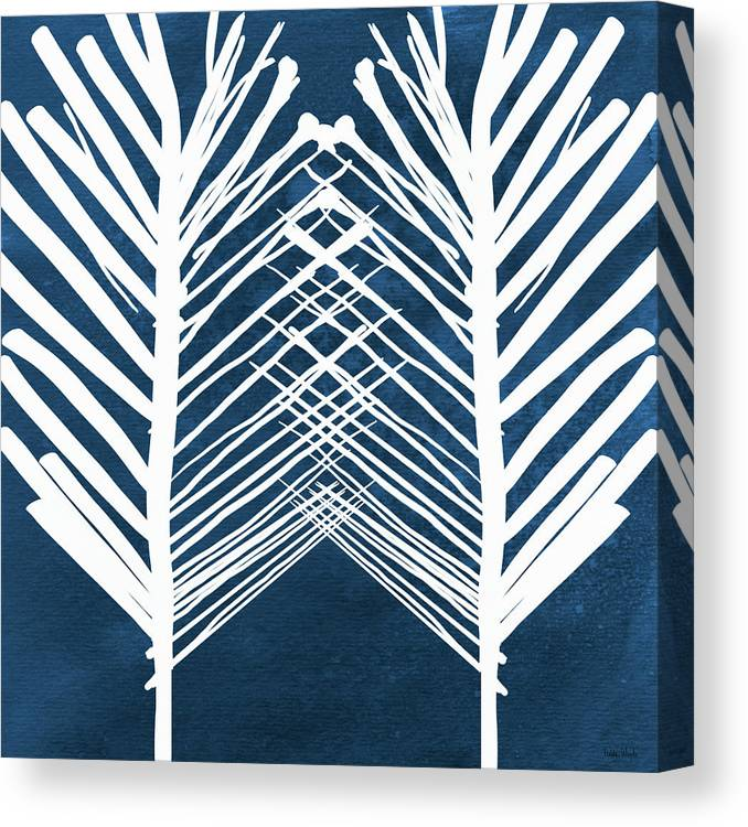 Leaves Canvas Print featuring the painting Indigo and White Leaves- Abstract Art by Linda Woods