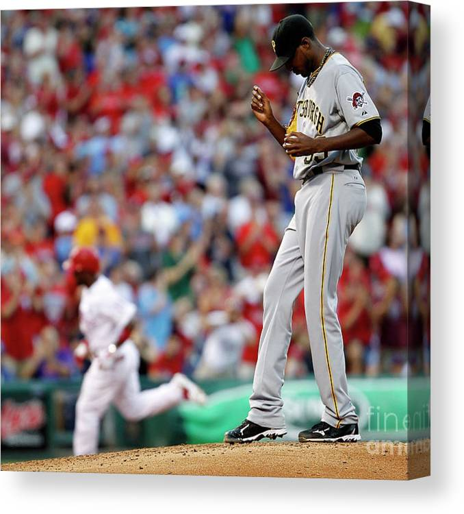 People Canvas Print featuring the photograph James Mcdonald and Jimmy Rollins by Jeff Zelevansky