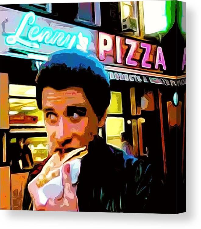 John Travolta Canvas Print featuring the painting John Travolta - How to Eat Pizza by Bellino