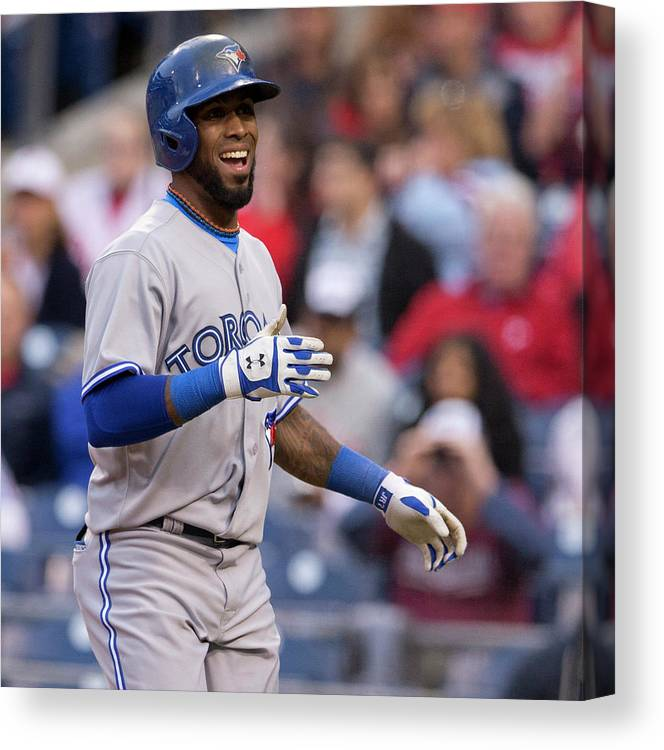 Citizens Bank Park Canvas Print featuring the photograph Jose Reyes by Mitchell Leff