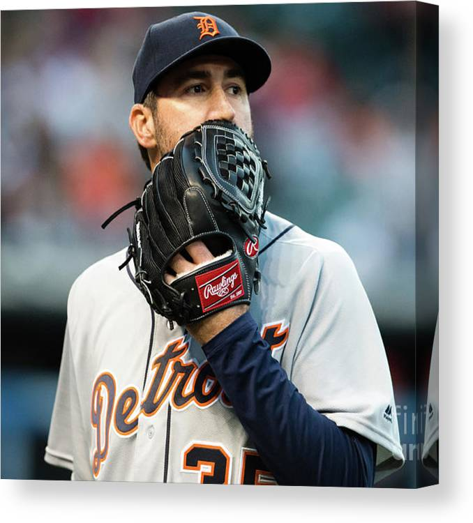 People Canvas Print featuring the photograph Justin Verlander and Francisco Lindor by Jason Miller