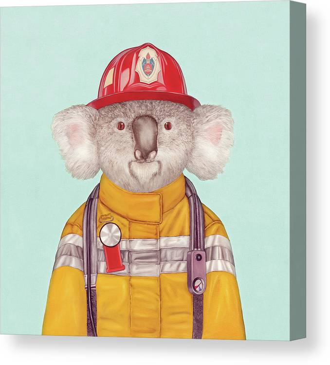 Canvas Print featuring the painting Koala Firefighter by Animal Crew