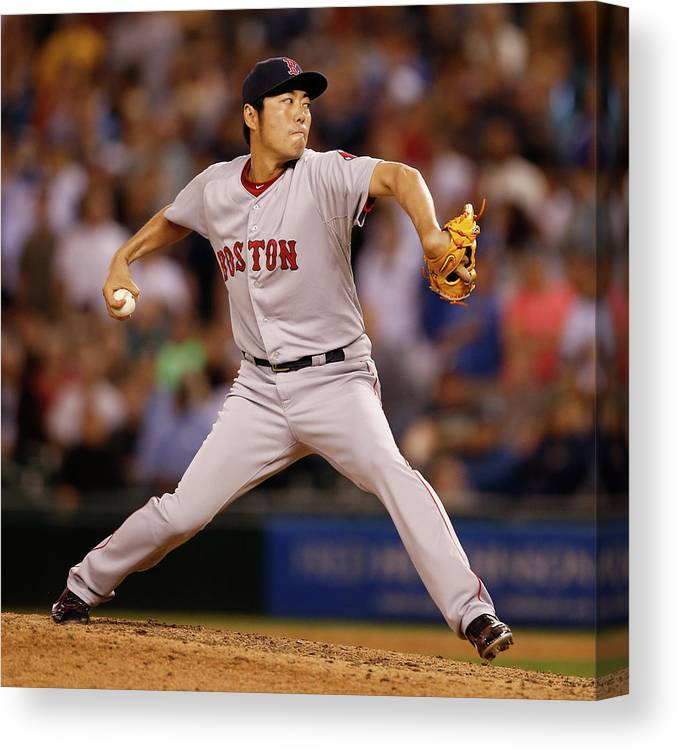 Ninth Inning Canvas Print featuring the photograph Koji Uehara by Otto Greule Jr