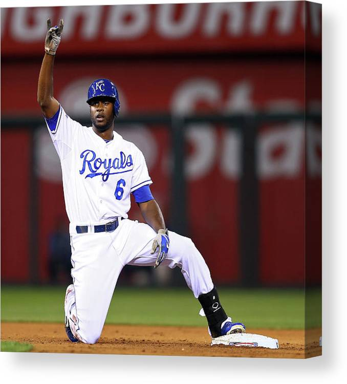 Game Two Canvas Print featuring the photograph Lorenzo Cain by Elsa