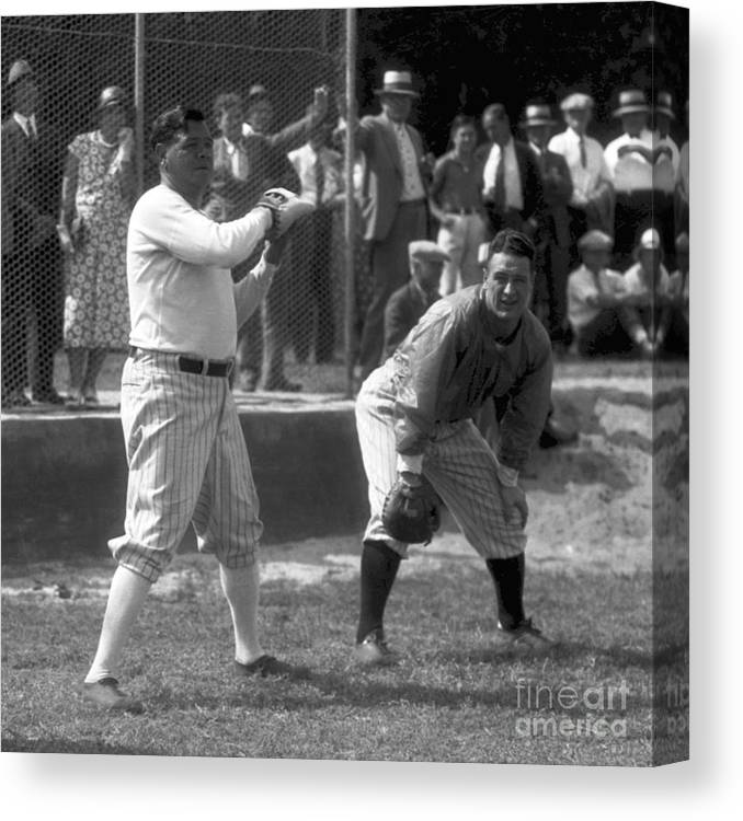 American League Baseball Canvas Print featuring the photograph Lou Gehrig and Babe Ruth by Olen Collection