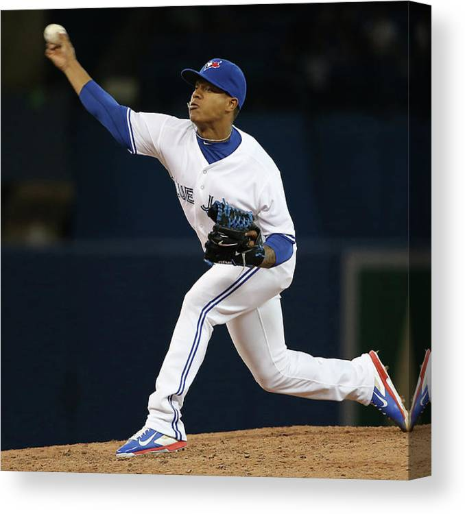 American League Baseball Canvas Print featuring the photograph Marcus Stroman by Tom Szczerbowski