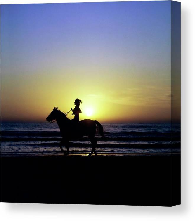 Animal Canvas Print featuring the photograph Margaux Hemingway on Horseback by Francesco Scavullo