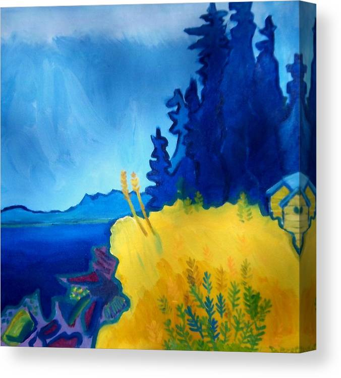 Seascape Canvas Print featuring the painting Pemaquid Point by Debra Bretton Robinson