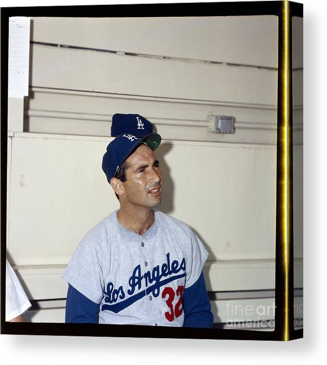 Sandy Koufax Canvas Print featuring the photograph Sandy Koufax by Louis Requena