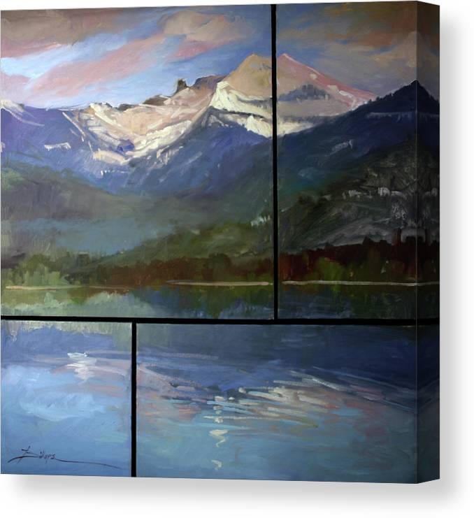 Murals Canvas Print featuring the painting Shadows of Winter Chimney Rock by Betty Jean Billups