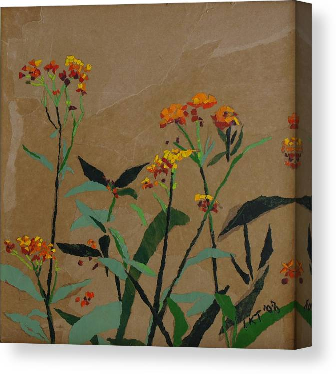 Floral Recycled Collage Canvas Print featuring the painting Smith Garden by Leah Tomaino