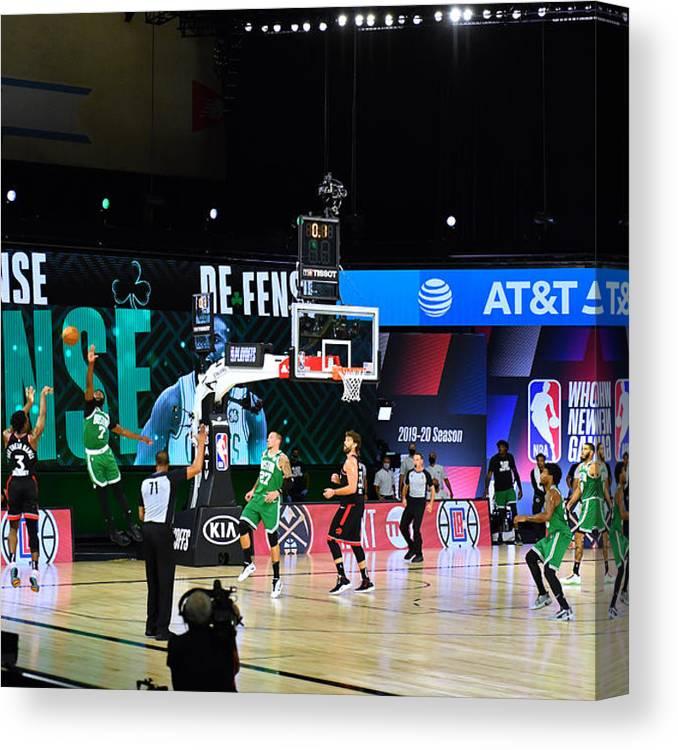 Canvas Print featuring the photograph Toronto Raptors v Boston Celtics - Game Three by Jesse D. Garrabrant