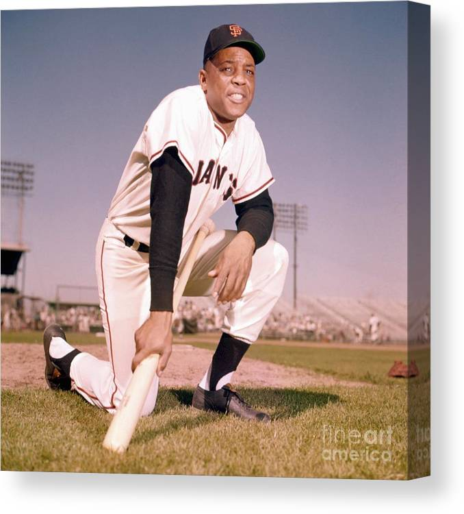 People Canvas Print featuring the photograph Willie Mays by Kidwiler Collection