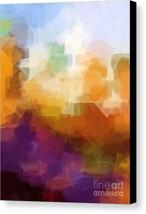 Abstract Cityscape Cubic Canvas Print featuring the digital art Abstract Cityscape Cubic by Lutz Baar