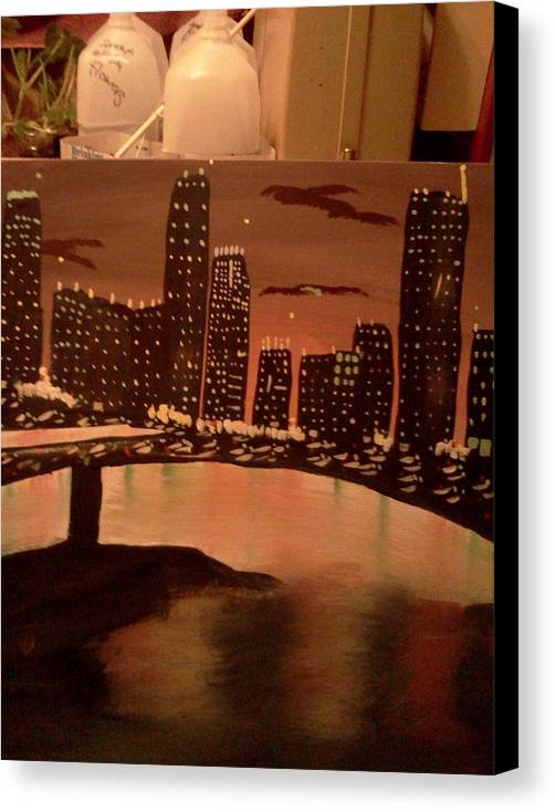 Landscape. Of City At Night And A Bridge. Canvas Print featuring the painting Busy Ness by Renee McKnight