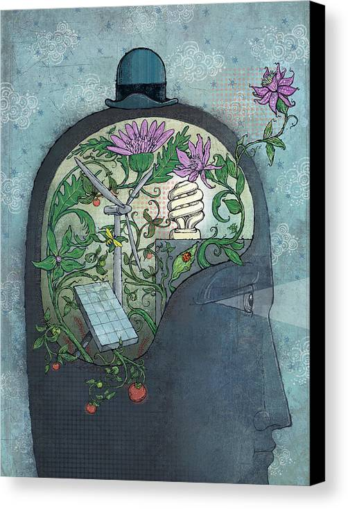 Flower Canvas Print featuring the digital art Ecohead by Dennis Wunsch