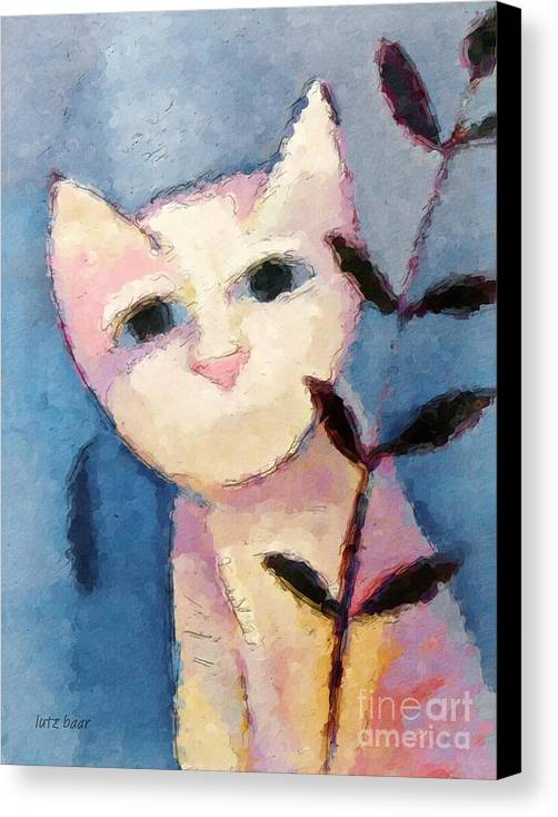 Cat Canvas Print featuring the painting Little White Cat by Lutz Baar