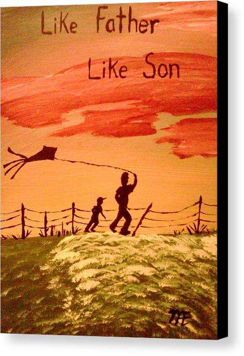 Silhouette. On Canvas Panel. Of Father And Son Flying. A Kite Canvas Print featuring the painting Me And My Dad by Renee McKnight
