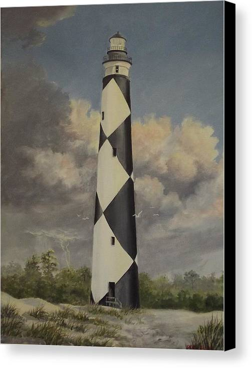 Stormy Skys Canvas Print featuring the painting Storm Over Cape Fear by Wanda Dansereau