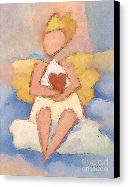 Angel Canvas Print featuring the painting Valentine Angel by Lutz Baar