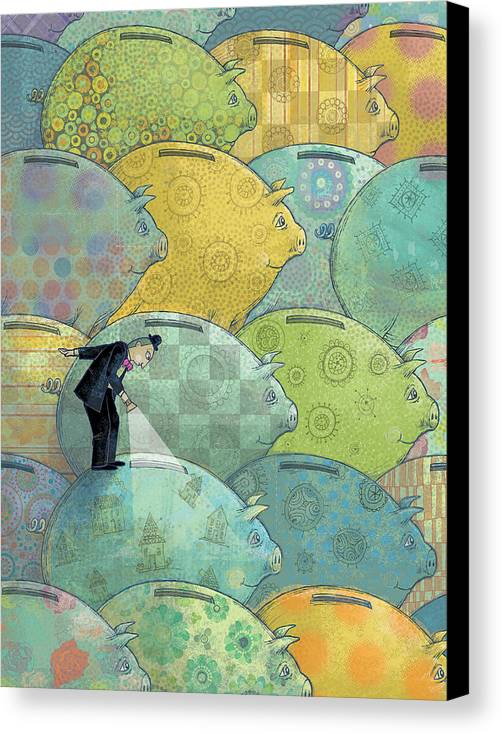 Piggy Bank Canvas Print featuring the digital art Where's The Money? by Dennis Wunsch
