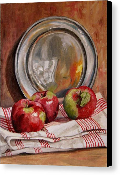 Apples Canvas Print featuring the painting Apples And Pewter by Cheryl Pass