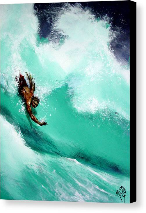 Body Surfer Canvas Print featuring the painting Brad Miller In Makaha Shorebreak by Paul Miller