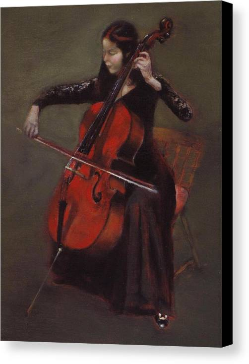 Young Lady Canvas Print featuring the painting Cello Player by Takayuki Harada