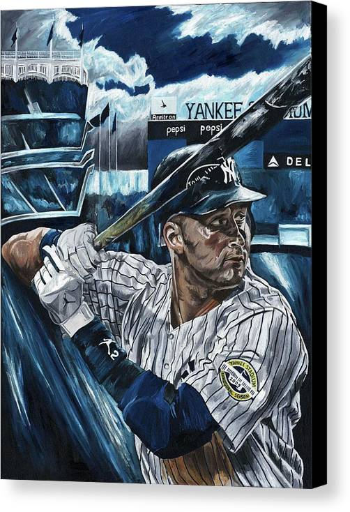 Derek Jeter New York Yankees Baseball Mlb Shortstop Hitter David Courson Painting Canvas Print featuring the painting Derek Jeter by David Courson