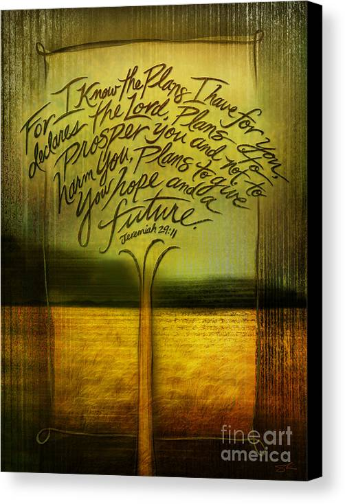 Jeremiah 29:11 Canvas Print featuring the mixed media God's Plans by Shevon Johnson