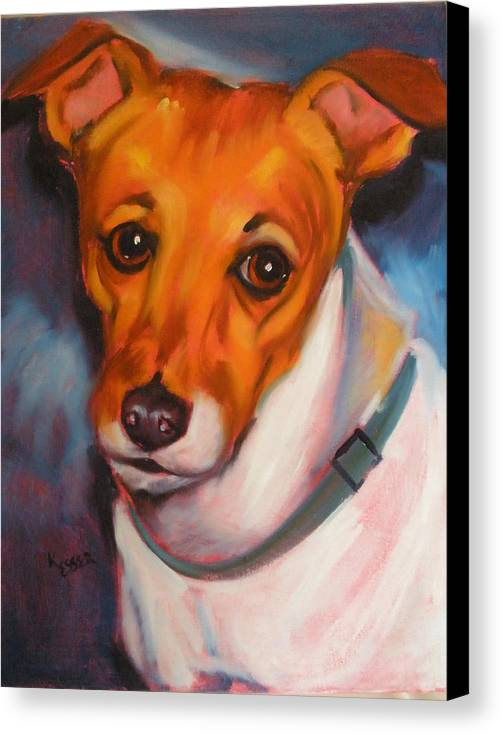 Jack Russel Painting Canvas Print featuring the painting Jack Russell Terrier by Kaytee Esser