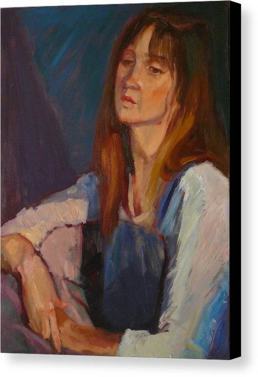 Pensive Girl Canvas Print featuring the painting sold Kerri by Irena Jablonski