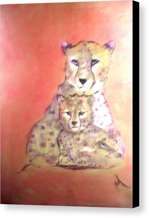 Wildlife Canvas Print featuring the painting Leopard Love by Michela Akers